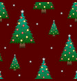 christmas tree with star on red background vector image vector image