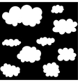 Cloud icons set on black sky background vector image vector image