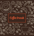 coffee line icons background vector image vector image