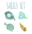 Cute cartoon ocean shells set