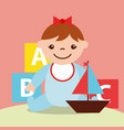 cute little girl and sailboat and blocks alphabet vector image