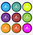 Cyclist icon sign Nine multi colored round buttons vector image vector image
