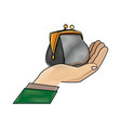 drawing hand man business with money purse vector image