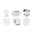 festival live concert hand drawn badges set vector image