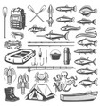 fishing equipment tackle and fish icons vector image vector image