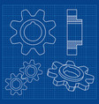 gear wheel on blueprint background vector image