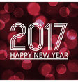 happy new year 2017 on dark bokeh circle vector image
