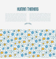 human thinking concept with thin line icons vector image