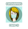 icon with a girl in a mask in center protected vector image vector image