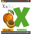 letter x worksheet with cartoon ximenia fruit vector image