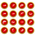 lizard icon red circle set vector image