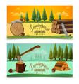 Lumberjack woodcutter horizontal banners set vector image