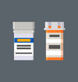 medicines in plastic containers with labels set vector image