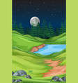 nature landscape at night vector image vector image