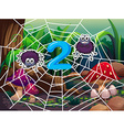 Number two with two spiders on web vector image vector image