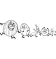 running fruits cartoon coloring book vector image vector image