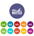 sea bottle icons set color vector image vector image