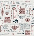 seamless pattern with vintage keys and old houses vector image vector image