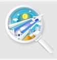 search best flight ticket concept paper cut vector image