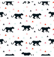 silhouette leopard seamless white pattern vector image vector image