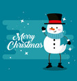 snowman with arms and legs to merry christmas vector image vector image