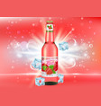 strawberry beer poster banner template vector image vector image