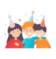 three happy kids celebrating birthday confetti in vector image