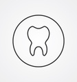 tooth outline symbol dark on white background logo vector image vector image