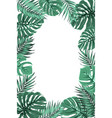 tropical jungle palm monstera leaf frame portrait vector image vector image