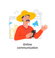 video call concept with with a mustachioed man vector image