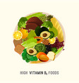 vitamin b9 in food vector image