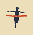 woman reaching the finish line vector image