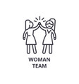 woman team thin line icon sign symbol vector image vector image