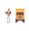 worker man standing delivery truck and reading vector image vector image