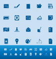 Writing related color icons on blue background vector image