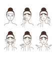 young woman takes care of her skin with cosmetics vector image