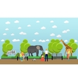 Zoo concept banner People visiting zoopark with vector image vector image