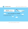 Flat airplane with 404 error notification vector image