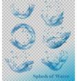 splash of water on transparent background set vector image