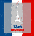 Eiffel tower icon in flag background vector image