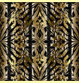 3d abstract floral gold black seamless pattern vector image