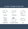 6 thumb icons vector image vector image