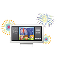 A board with the flag of Australia and three happy vector image vector image