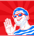 a bright positive man with glasses cheerful guy vector image vector image