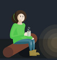a girl scout sitting beside a vector image vector image