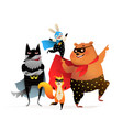 animals fun superheroes silly costume performance vector image vector image