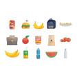 assortment of food icons vector image