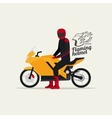 Biker with motorcycle and logo vector image vector image