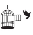 bird cage silhouette vector image vector image