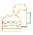 burger and beer glass fast food beverage vector image vector image